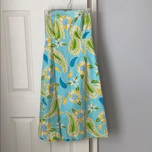 Lilly Pulitzer strapless tie back midi dress
